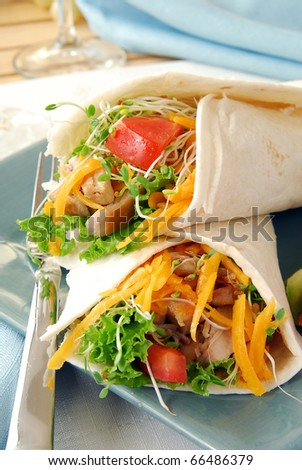 A plate of lean chicken fajitas with cheddar cheese - stock photo