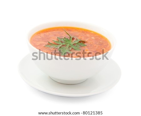 a plate of soup on a white background - stock photo