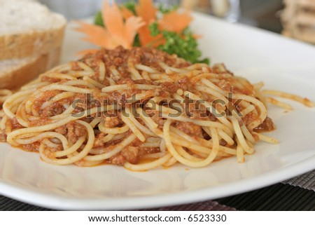 a plate of  spaghetti bolognese - stock photo