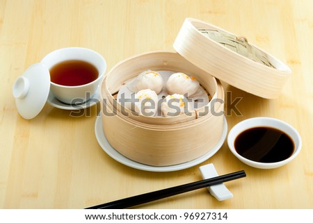 A plate of steamed dumplings in Xian, China - stock photo
