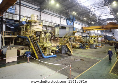 A plurality of tubes in the manufacturing shop floor plant - stock photo