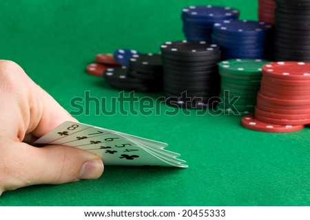 A poker hand with a straight flush