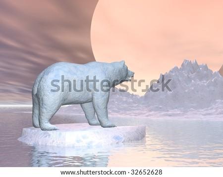 A polar bear illustration concept of global warming on earth - stock photo