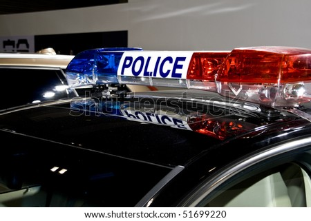 a police car stands waiting - stock photo