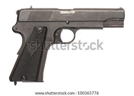 A Polish 9mm semi-automatic military pistol from World War Two. - stock photo