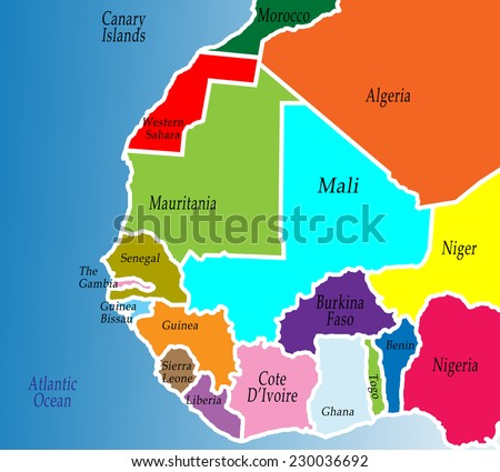 Political Map West Africa Colorful Bright Stock Illustration