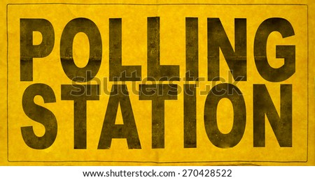 A Polling Station Sign For An Election - stock photo