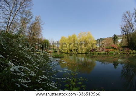 A Pond In Claude Monet Garden In Northern France - stock photo