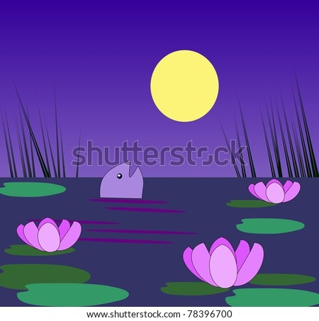 A pond with water lilies and fish in  the moonlight. - stock photo