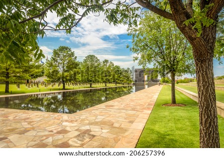 A pool stands where the terrorist attack took place in Oklahoma - stock photo