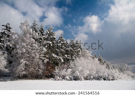 a popular destination for Hummelshain near the historic hunting plant Rieseneck in winter - stock photo