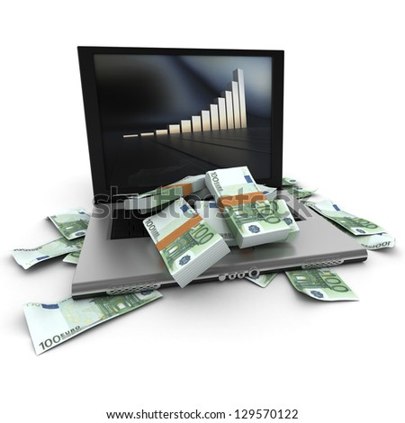 A portable computer with a growth chart, with the keyboard cover in hundred dollar bills - stock photo