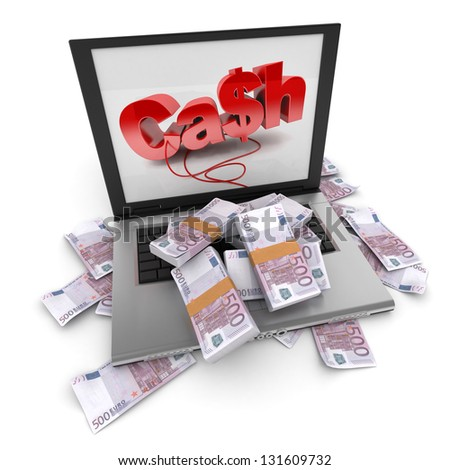 A portable computer with cash written on the screen, with the keyboard cover in five hundred euro bills - stock photo