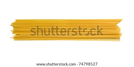 A portion of Spaghetti tube pasta isolated on white - stock photo