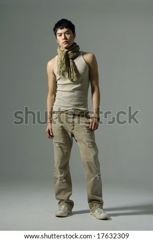 A portrait about a trendy attractive young man - stock photo