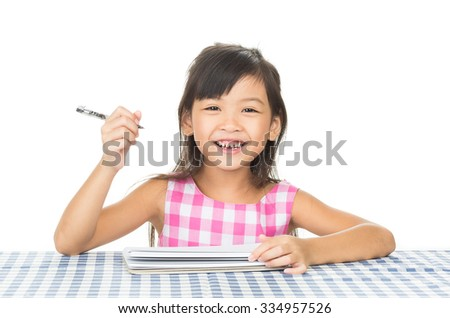 A portrait girl homework on the table,on the white background.