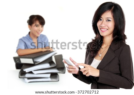 A portrait Group of asian young businessperson, woman as a team leader standing at the front - stock photo