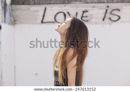 A portrait of a asian woman,Valentine's day theme. - stock photo
