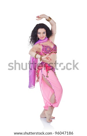 A portrait of a beautiful belly dancer isolated on white background
