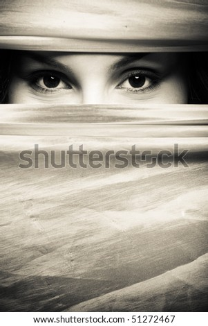 A portrait of a beautiful woman with beautiful eyes - stock photo