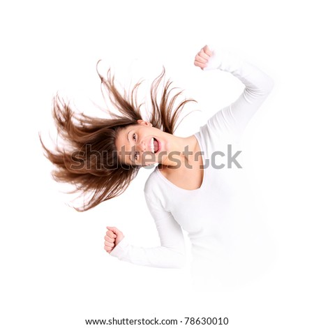 A portrait of a beautiful young woman with long hair acting crazy over white background - stock photo