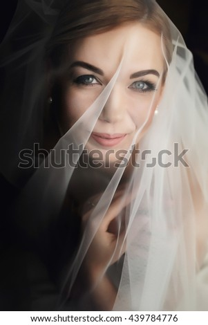 A portrait of a bride smiling under a veil - stock photo