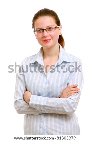 A portrait of a business woman on white background - stock photo