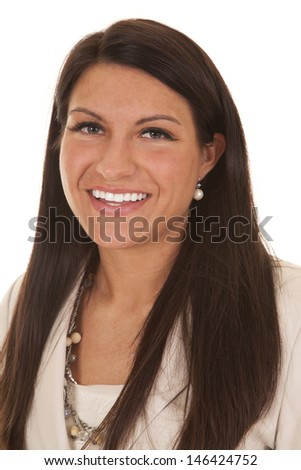 A portrait of a business woman smiling.
