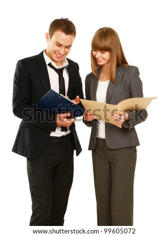 A portrait of a businesswoman and a businessman standing with folder on white background - stock photo