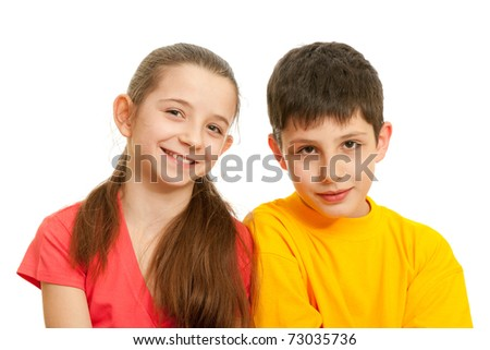 A portrait of a cheerful girl and a smiling boy; isolated on the white background