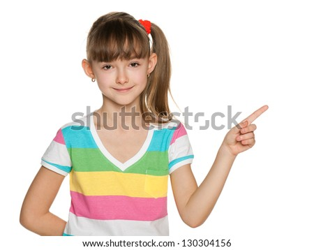 A portrait of a cheerful girl in striped blouse makes a hand gesture - stock photo