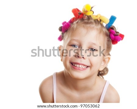 a portrait of a child on a white background - stock photo