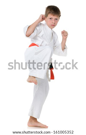 A portrait of a confident boy in kimono in fighting stance