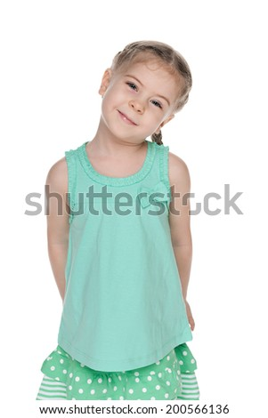 A portrait of a cute fashion little girl on the white background - stock photo