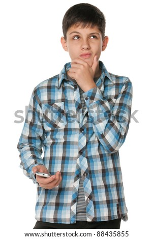A portrait of a fashion pensive teen; isolated on the white background - stock photo