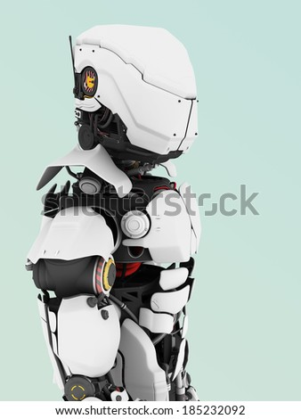A portrait of a futuristic robot. Bluish background.