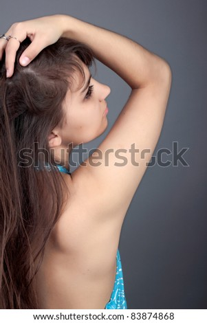 A portrait of a girl with long hair - stock photo
