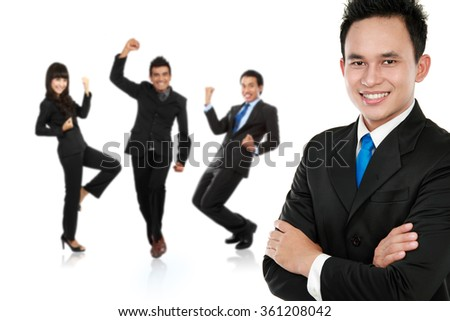 A portrait of a group of asian young businessperson, isolated in white background - stock photo