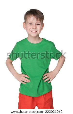 A portrait of a handsome little boy in a green shirt against the white background - stock photo