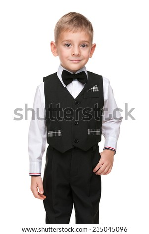 A portrait of a handsome preschool boy on the white background - stock photo