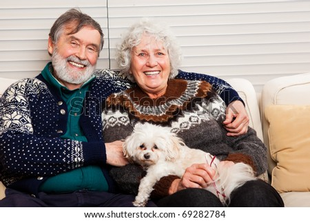 A portrait of a happy senior couple at home