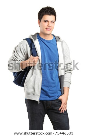 A portrait of a male student with a school bag isolated against white background - stock photo