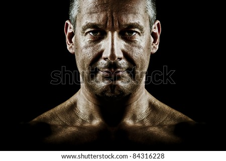 A portrait of a man under a special light - stock photo
