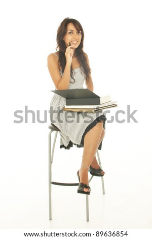 A portrait of a mixed race college student isolated on white