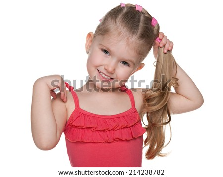 A portrait of a pretty little girl on the white background