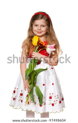 A portrait of a pretty little girl with flowers; isolated on the white background - stock photo