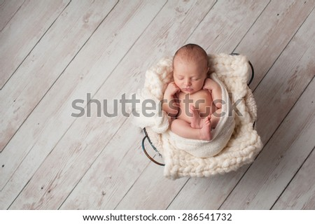 A portrait of a seven day old, newborn baby sleeping in a wire basket on a whitewashed, wooden floor. - stock photo