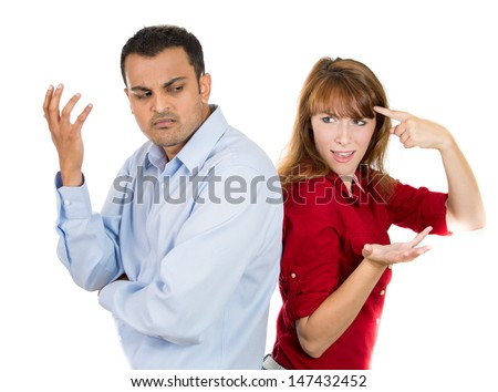 A portrait of a stressed couple going through hard times in their relationship, isolated on a white background .