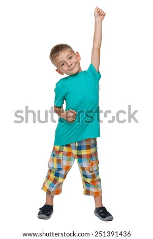 A portrait of a successful little boy against the white background - stock photo
