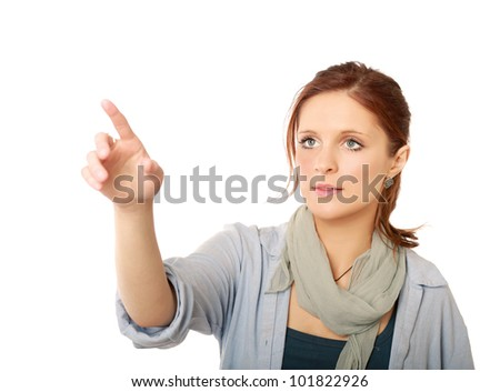 A portrait of a successful woman showing something - stock photo
